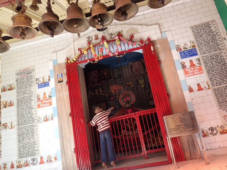 Boy throwing an offering to the Idol in Jhula Devi Temple